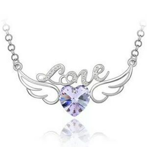 😘 4/$25 Love Purple Heart Wings Necklace